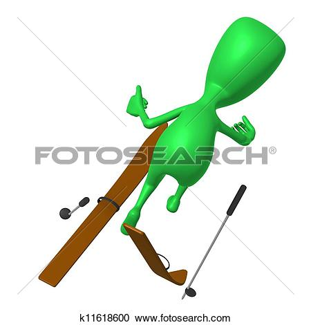 Stock Illustrations of View green puppet craching on ski gliding.