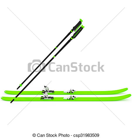 Stock Illustration of Sports skiing green, ski poles. 3D graphic.