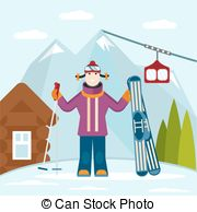 Vector Clipart of Mountain village hotel ski resort holidays bus.