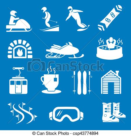 EPS Vectors of Mountain winter resort and sport hotel icons. Ski.