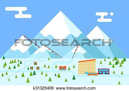 Clip Art of Mountain village hotel ski resort holidays bus shop.