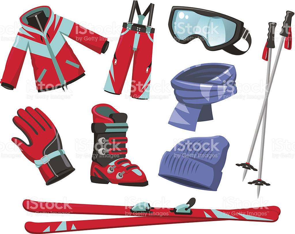 Ski Equipment Sport Jacket Pants Gloves Boots Scarf Hat Goggles.