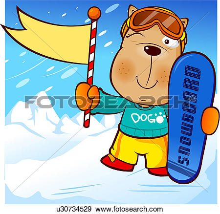 Stock Illustration of ski suit, character, ski resort, mountain.