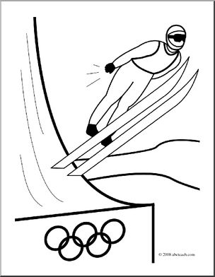 Clip Art: Winter Olympics: Ski Jumping (coloring page).