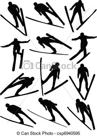 Clipart Vector of Ski jumping collection.