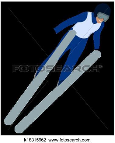 Clipart of skier doing ski jumping k18315662.