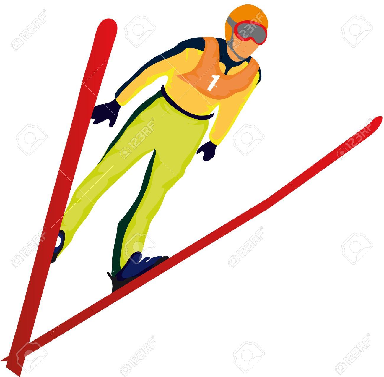 Рисунок прыгающего с трамплина лыжника