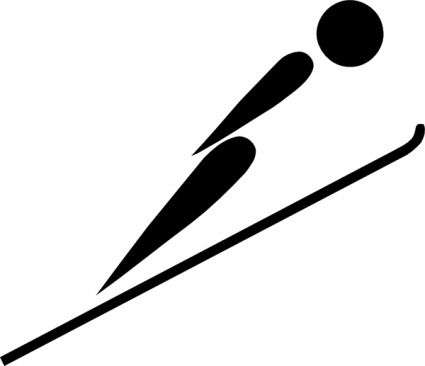 Olympic Sports Ski Jumping Pictogram clip art Free Vector.