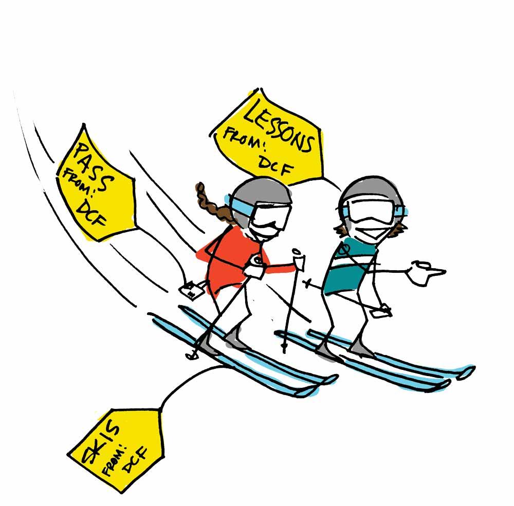 Ski lessons clipart #5