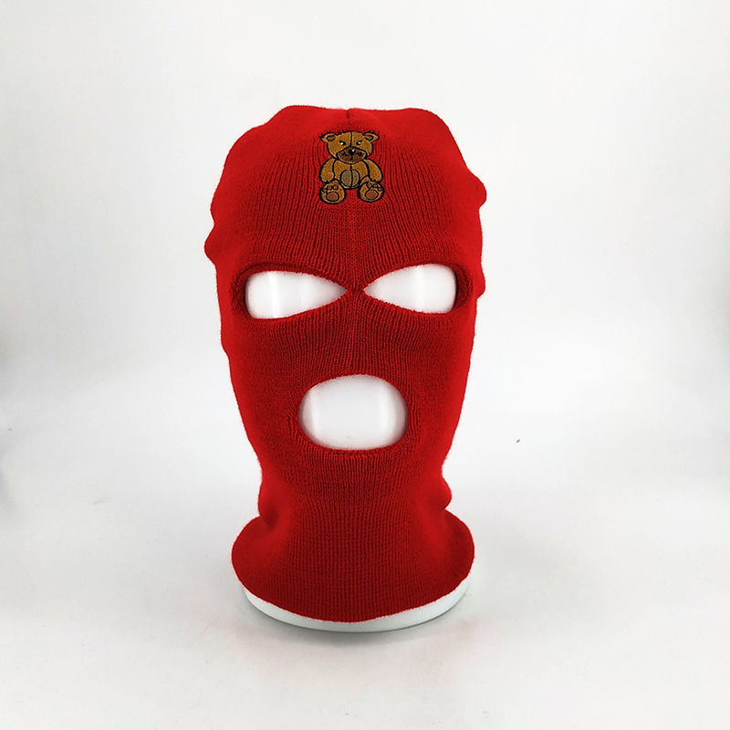 Custom Knitted Ski Mask With Embroidery Logo, 3 Hole Winter.