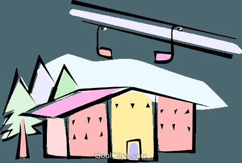 ski resort Royalty Free Vector Clip Art illustration.