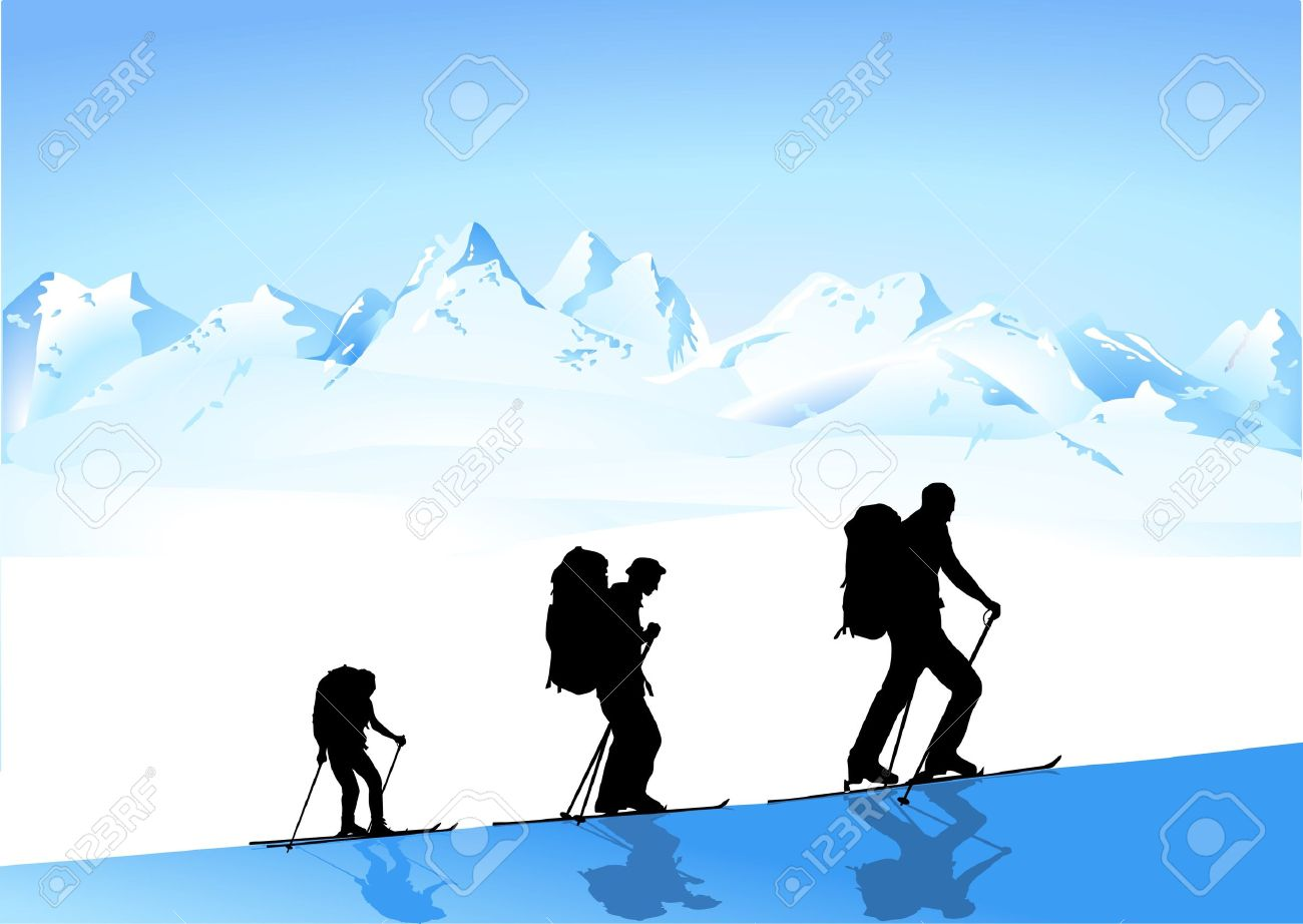 Hiking In Winter Royalty Free Cliparts, Vectors, And Stock.
