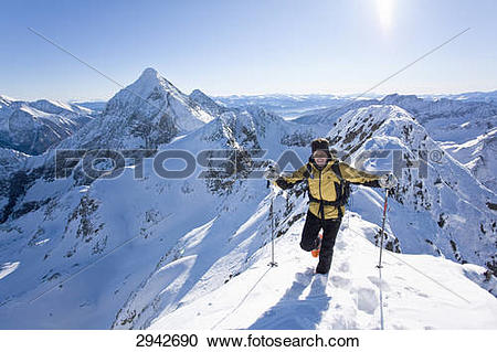 Stock Photography of ski mountaineer, Enns Valley, Austria 2942690.