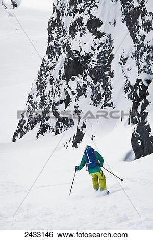 Stock Images of Backcountry ski mountaineering near Eagle River.