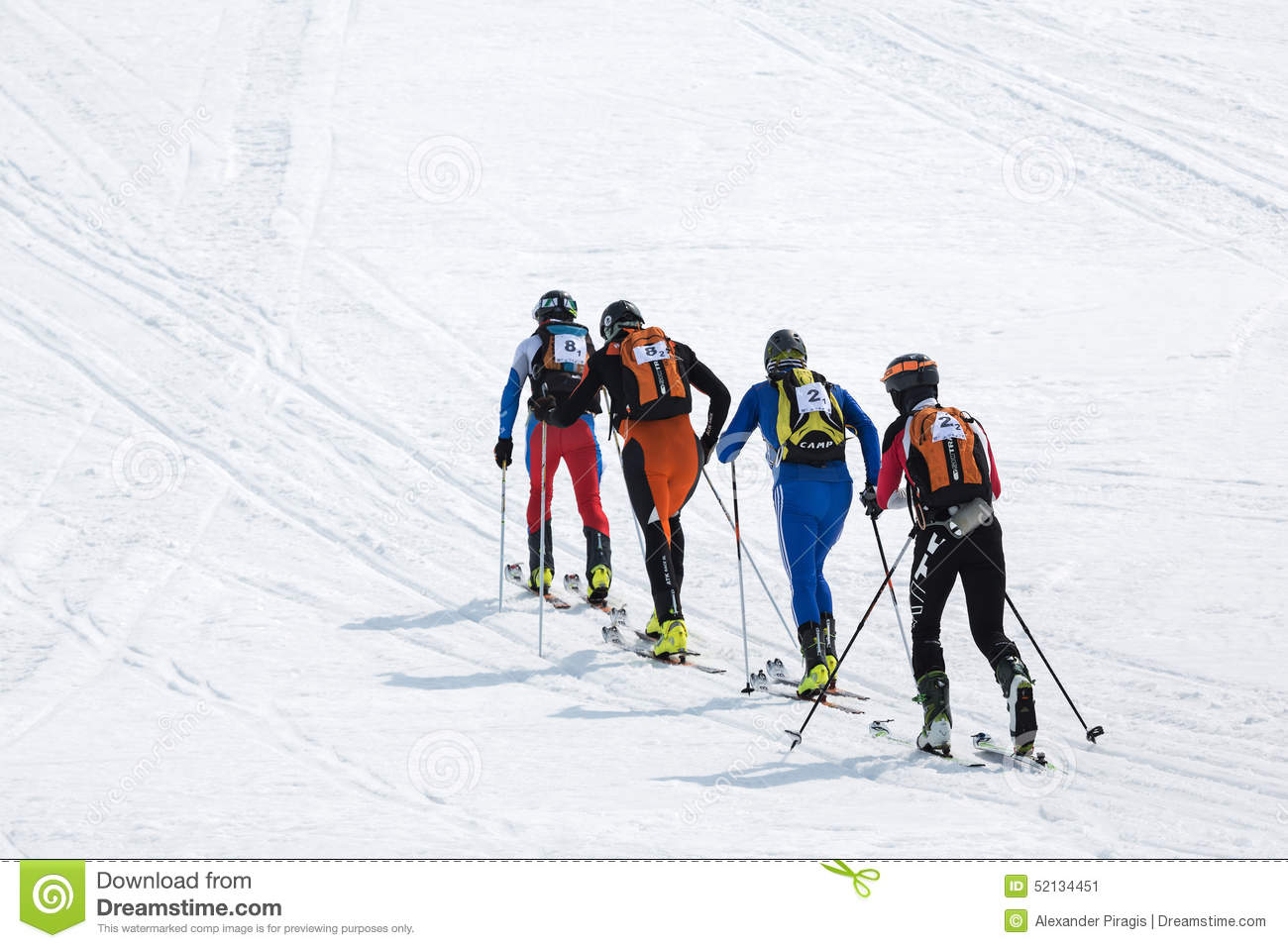 Two Teams Of Ski Mountaineers Climb The Mountain On Skis. Team.