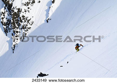 Stock Photograph of Backcountry ski mountaineering near Eagle.