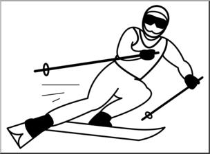 Clip Art: Skiing B&W I abcteach.com.