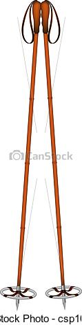 Vector Illustration of Old ski poles isolated on white background.