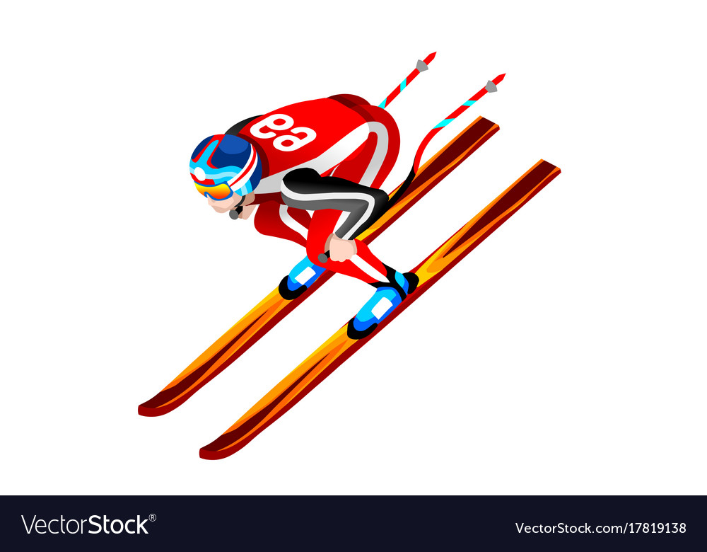 Skier clipart skiing downhill.
