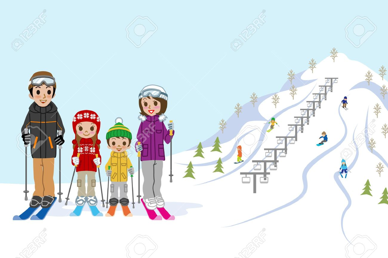 Family In Ski Slope Royalty Free Cliparts, Vectors, And Stock.
