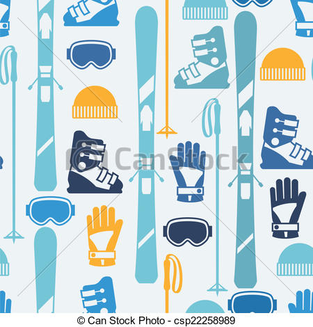 Vector of Sports seamless pattern with skiing equipment flat icons.