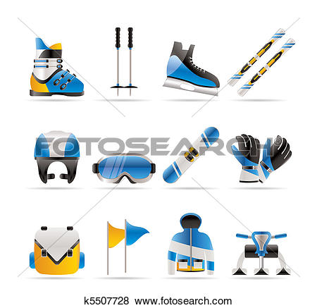 Clip Art of ski and snowboard equipment icons k5507728.