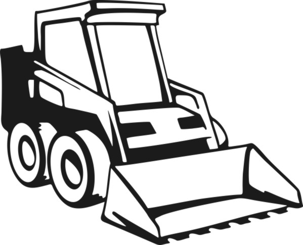 Skid loader clipart.