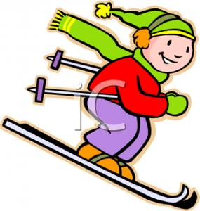 A Colorful Cartoon of a Child Snow Skiing.