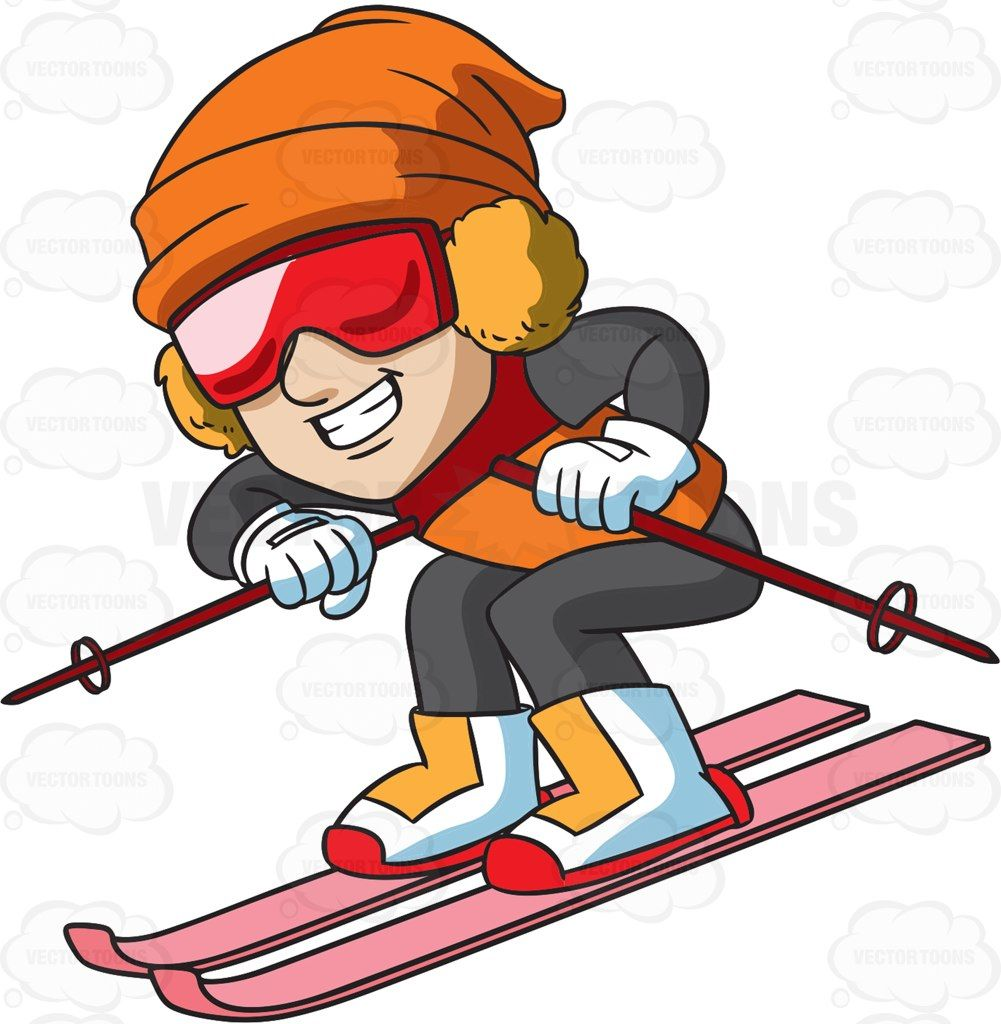 A male skier speeding down the slope #cartoon #clipart.