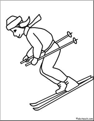 Clip Art: Kids: Skier B&W I abcteach.com.
