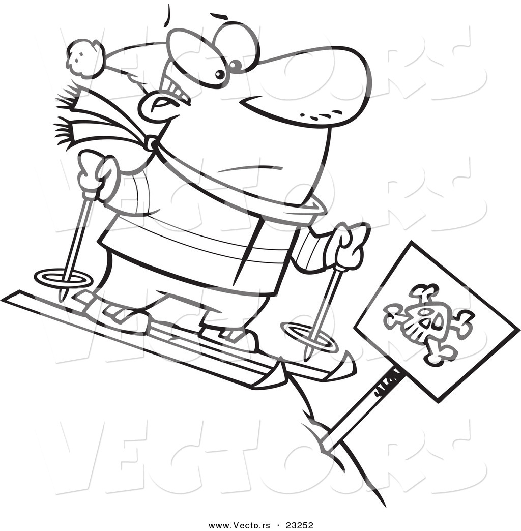 Vector of a Cartoon Guy Skiing down a Dangerous Slope.
