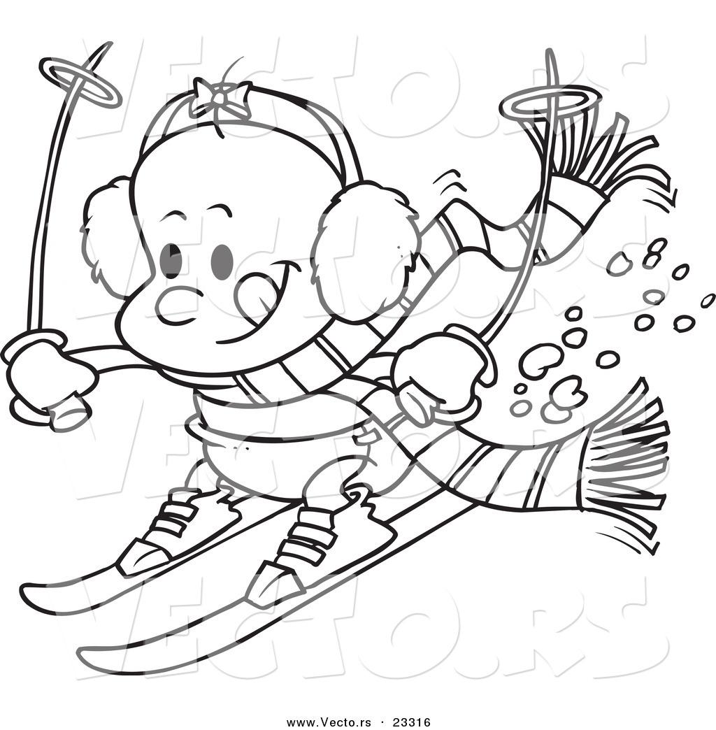 Cartoon Vector of Cartoon Baby Girl Skiing.