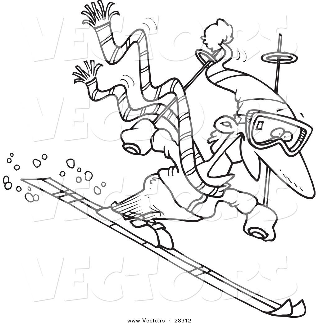 Cartoon Vector of Cartoon Skier Guy.