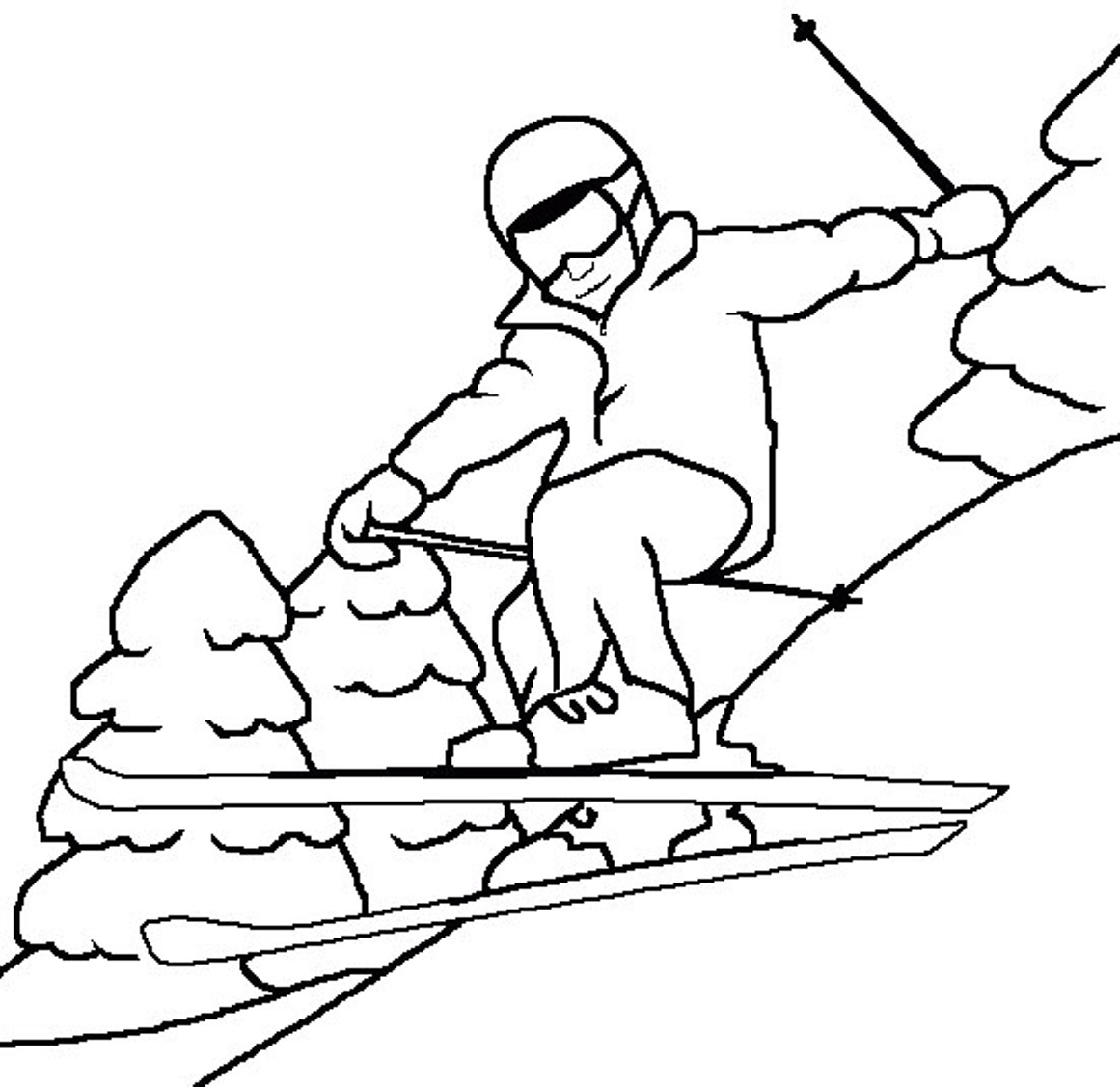 winter skiing coloring.