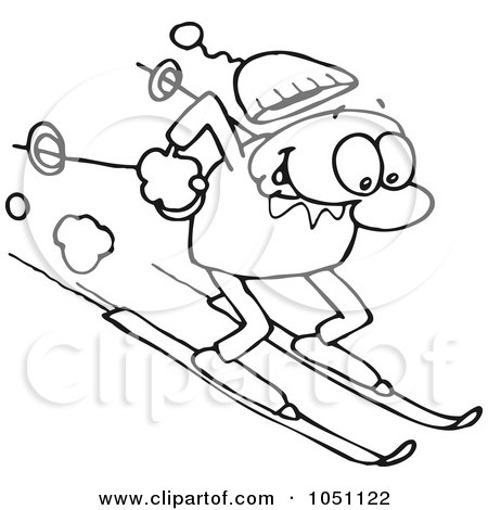 Clipart Illustration of a Happy Caucasian Guy Skiing Fast Downhill.