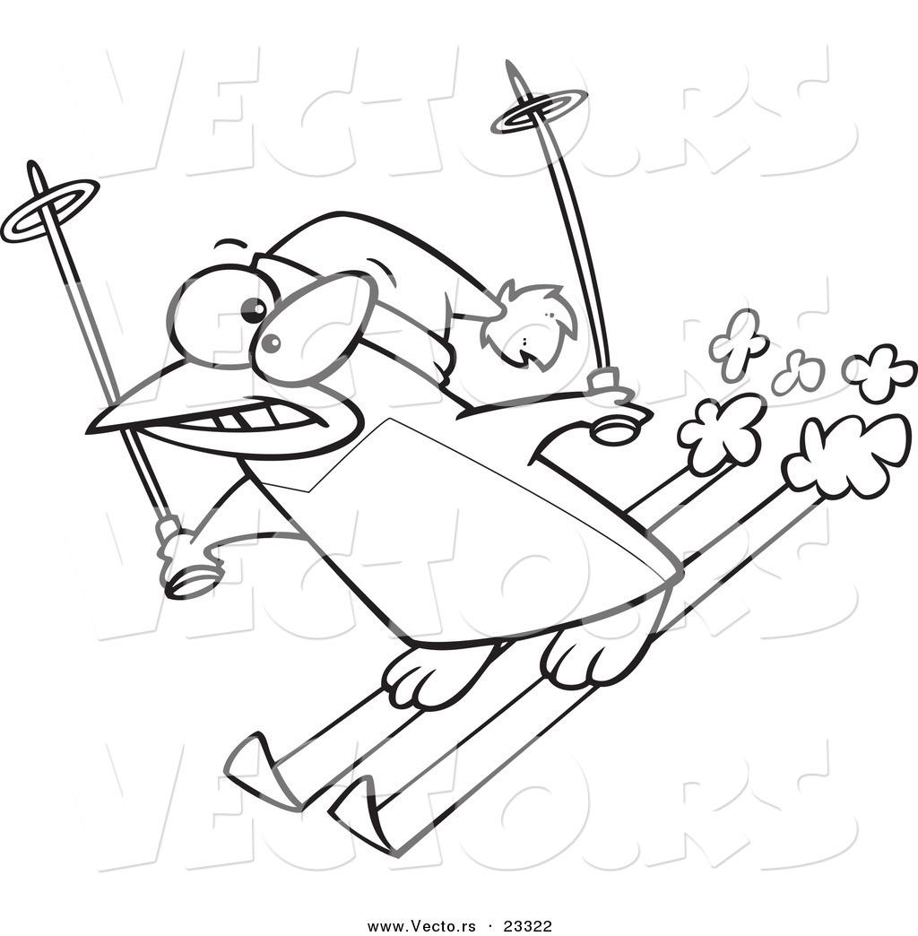 Cartoon Vector of Cartoon Ski Penguin.