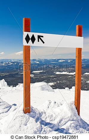 Pictures of Black Diamond Ski Hill Sign csp19472881.