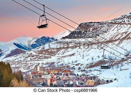 Stock Image of Ski resort in French Alps.