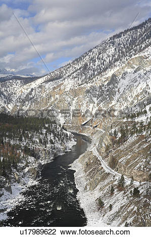 Stock Photo of View of the Thompson River in winter from Skihist.