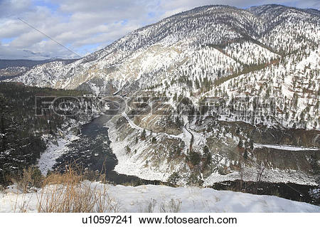 Stock Photography of View of the Thompson River in winter from.