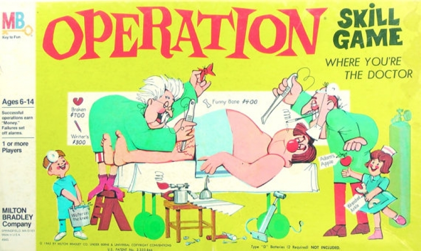 vintage 1965 operation skill game milton bradley smoking iners.