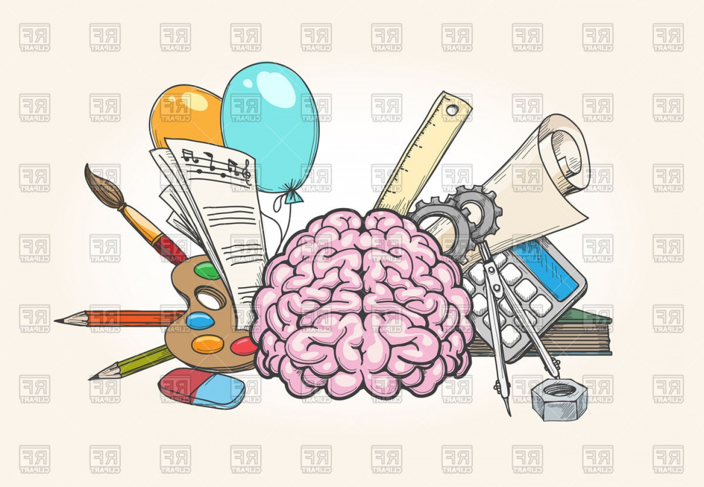 Left And Right Brain Concept Human Brain Creativity And.