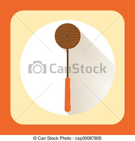 Vector Clipart of Kitchen ware skimmer. Vector flat icon with long.