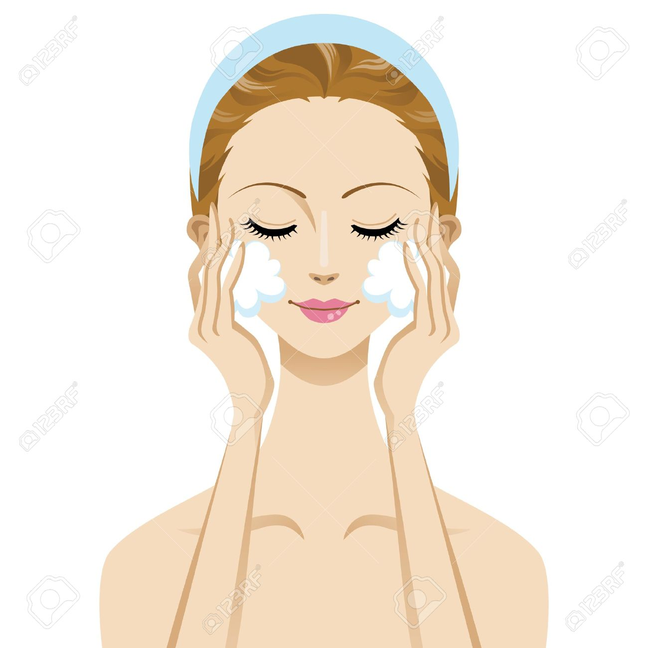 Skin Care Beauty Woman Image , Cleansing Foam Royalty Free.
