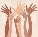 Vector Illustration of Happy hands in skin tones..
