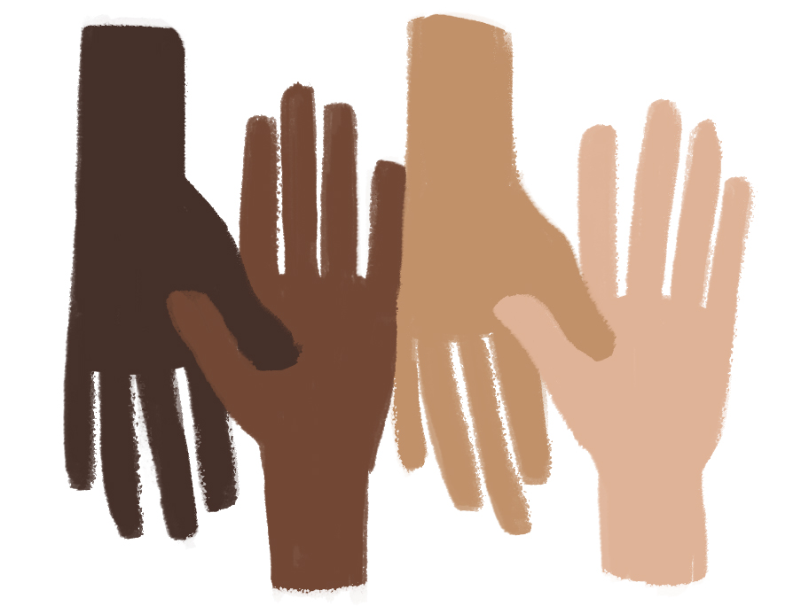 Different color skin clipart.