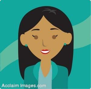 Clip Art Icon of a Dark Skinned Businesswoman.