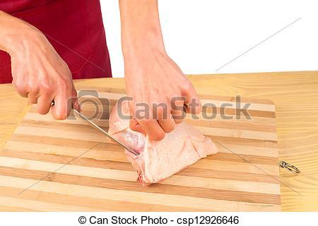 Stock Photo of Skinning chicken.