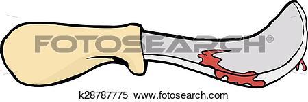 Clipart of Bloody Skinning Knife Illustration k28787775.