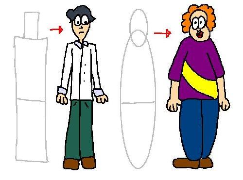 Skinny Man Cartoon.